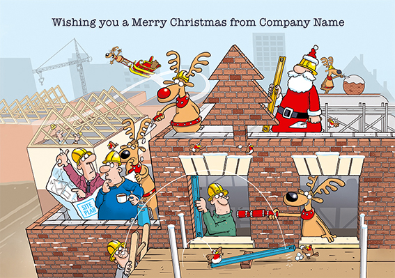 Construction Chaos Front Personalised Personalised Charity Christmas Card