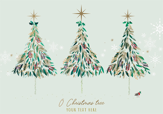 Contemporary Trees and Robin Front Personalised Personalised Charity Christmas Card