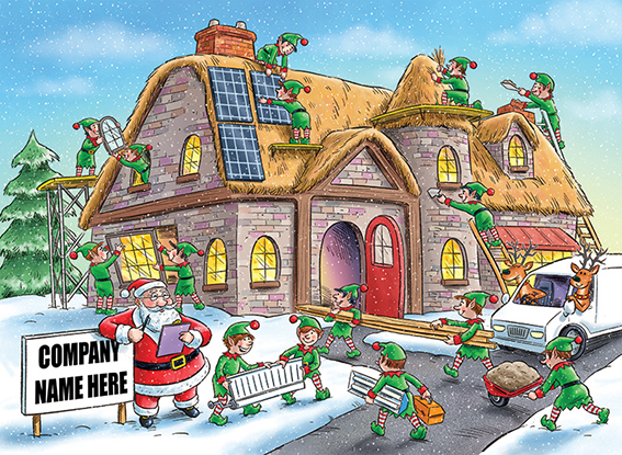 Festive Construction Front Personalised Personalised Charity Christmas Card