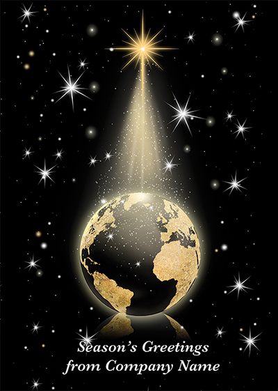 Golden Globe Front Personalised Personalised Charity Christmas Card