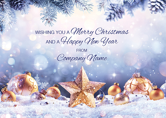 Golden Star Front Personalised Personalised Charity Christmas Card