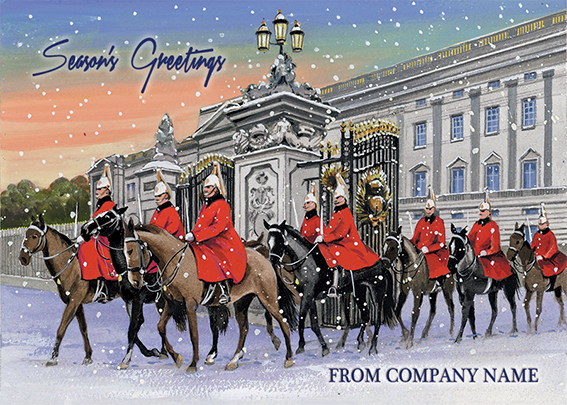 Horse Guards at Buckingham Palace Front Personalised Personalised Charity Christmas Card