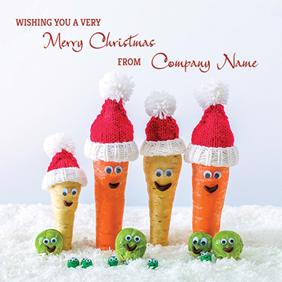 Merry Veg-Mas! Front Personalised Personalised Charity Christmas Card