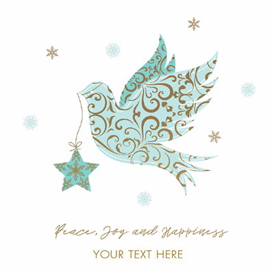 Peace, Joy and Happiness Front Personalised Personalised Charity Christmas Card