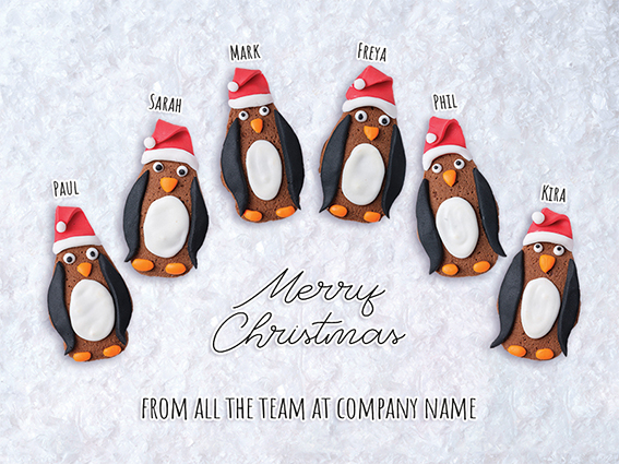Penguin Team Front Personalised Personalised Charity Christmas Card