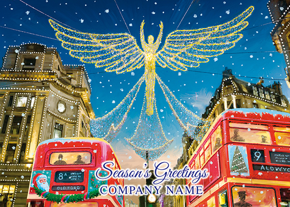 Regent Street at Christmas Front Personalised Personalised Charity Christmas Card