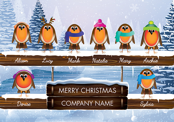 Robin Team Front Personalised Personalised Charity Christmas Card