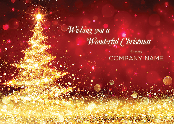 Seasonal Shimmer Front Personalised Personalised Charity Christmas Card