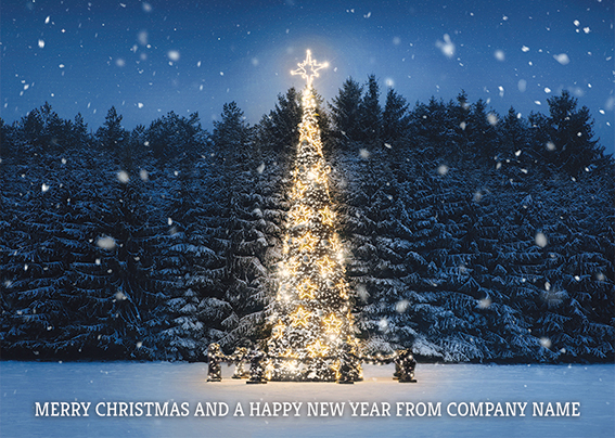 Shining Light Front Personalised Personalised Charity Christmas Card