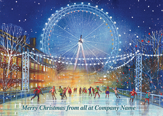 Skaters at the London Eye Front Personalised Personalised Charity Christmas Card