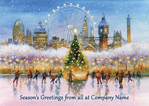 Skating under the Landmarks of London Front Personalised Personalised Charity Christmas Card