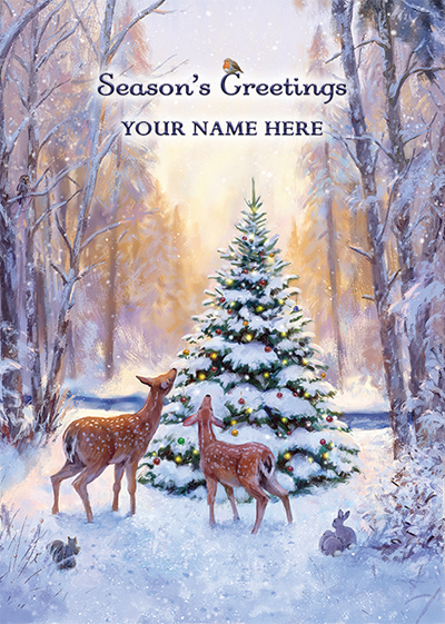 Snowy Woodland Front Personalised Personalised Charity Christmas Card