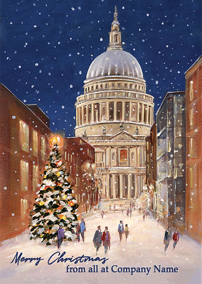 St Paul's Cathedral, Christmas Eve Front Personalised Personalised Charity Christmas Card