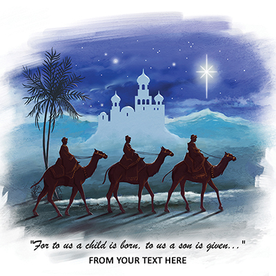The Three Wise Men Front Personalised Personalised Charity Christmas Card