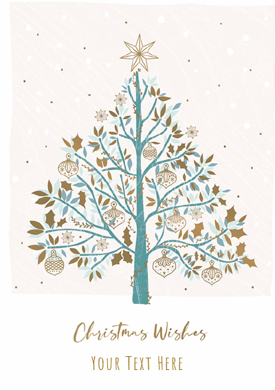 Tree and Gold Baubles Front Personalised Personalised Charity Christmas Card
