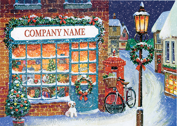 Village Store Front Personalised Personalised Charity Christmas Card