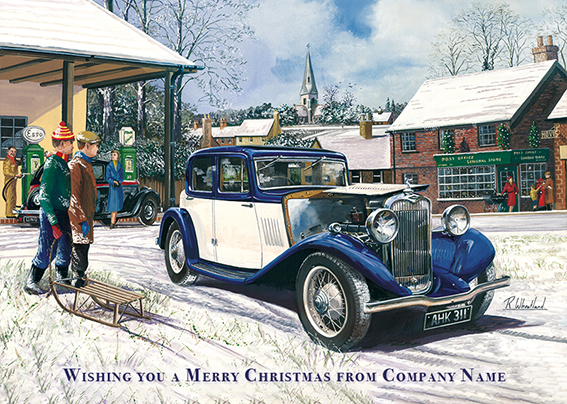 Vintage Motor Front Personalised Personalised Charity Christmas Card