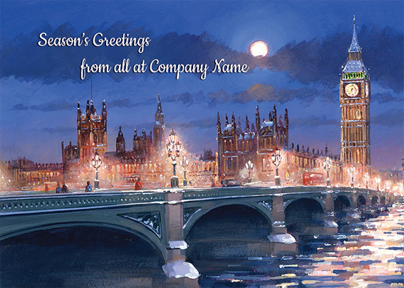 Westminster at Night Front Personalised Personalised Charity Christmas Card