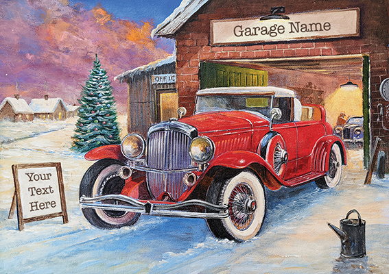 Winter Garage Front Personalised Personalised Charity Christmas Card