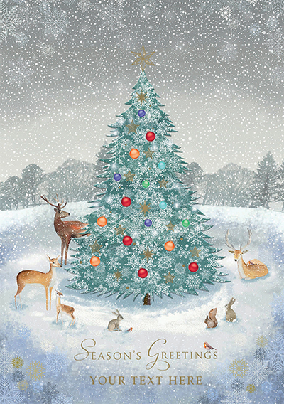 Woodland Scene Front Personalised Personalised Charity Christmas Card