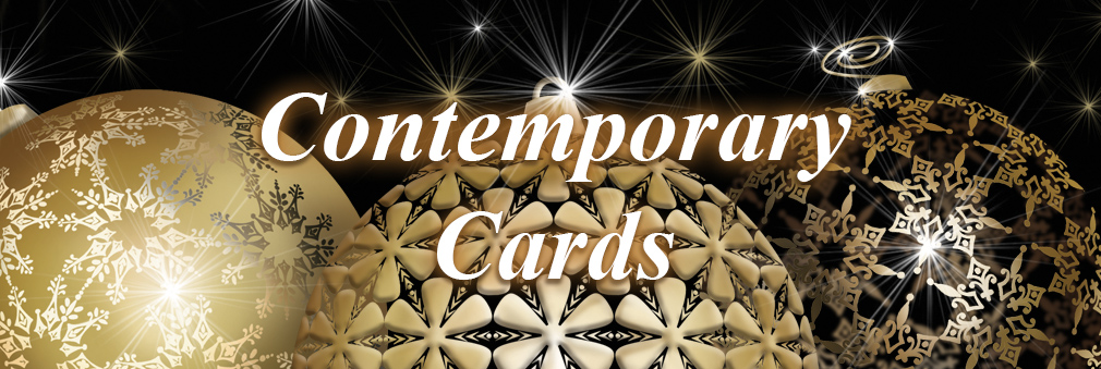 Golden Baubles, Contemporary Christmas Cards, Business Cards