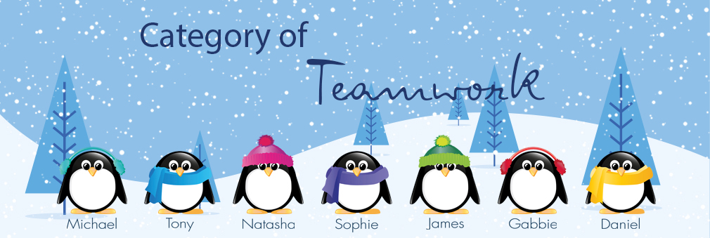 Personalised teamwork cards from Festive Collection