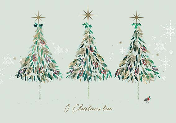 Contemporary Trees and Robin Personalised Charity Christmas Card