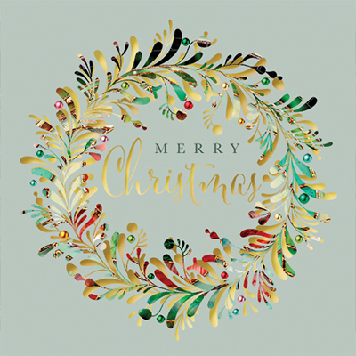 Contemporary Wreath Personalised Charity Christmas Card
