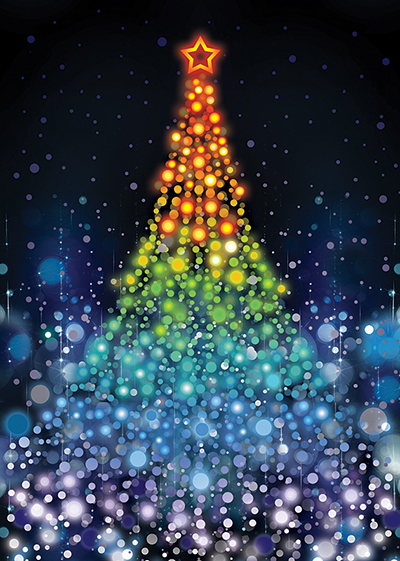 Festive Lights Personalised Charity Christmas Card