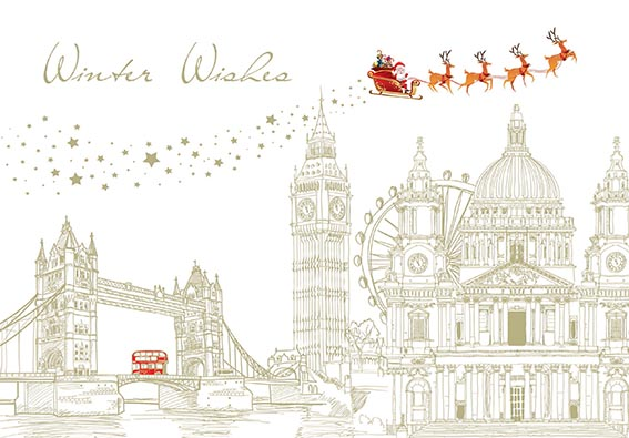 Festive London Personalised Charity Christmas Card