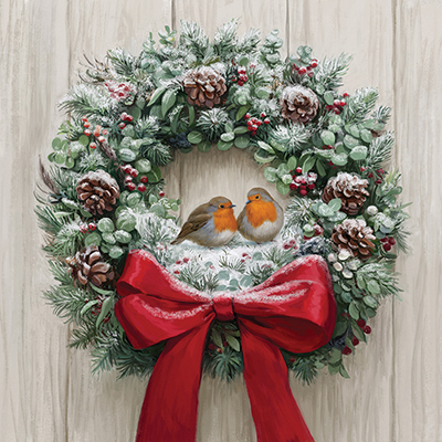 Festive Wreath Personalised Charity Christmas Card