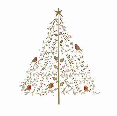 Golden Birds Tree Personalised Charity Christmas Card