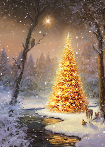 Golden Glow Personalised Charity Christmas Card