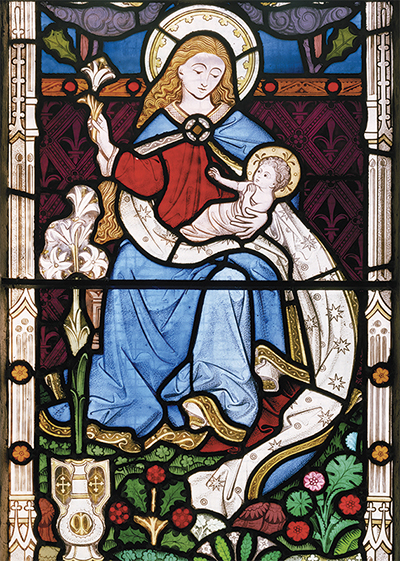 Mary and Child in Stained Glass Personalised Charity Christmas Card