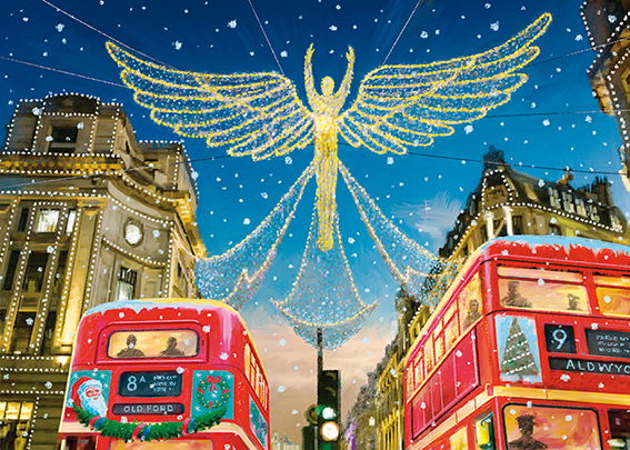 Regent Street at Christmas Personalised Charity Christmas Card