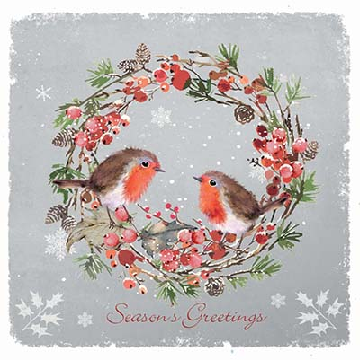 Robins Red Breast Personalised Charity Christmas Card