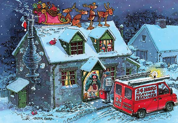 Santa Stuck in the Chimney Personalised Charity Christmas Card