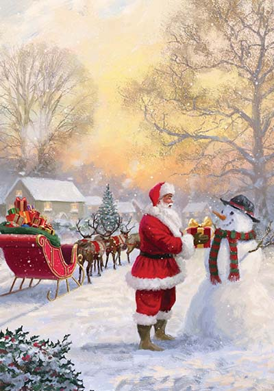 Santa in the Village Personalised Charity Christmas Card