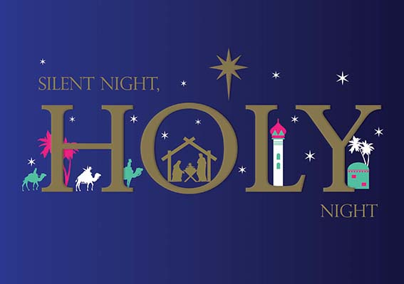Silent Night, Holy Night Personalised Charity Christmas Card