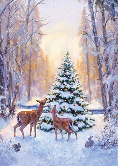 Snowy Woodland Personalised Charity Christmas Card