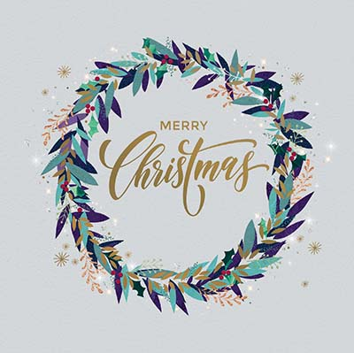 Stylised Wreath Personalised Charity Christmas Card