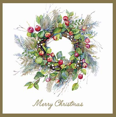 The Berry Wreath Personalised Charity Christmas Card