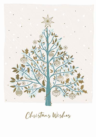 Tree and Gold Baubles Personalised Charity Christmas Card