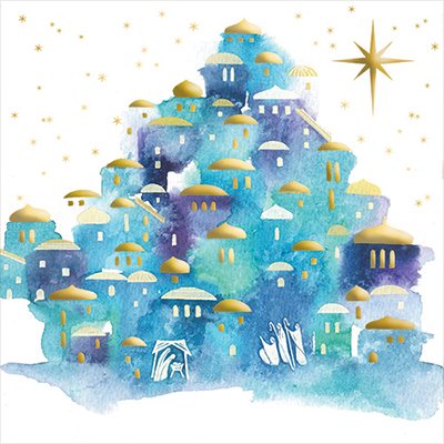 Watercolour Nativity Personalised Charity Christmas Card