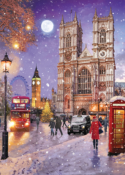 Westminster Abbey in the Snow Personalised Charity Christmas Card
