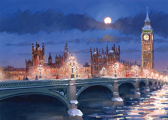 Westminster at Night Personalised Charity Christmas Card