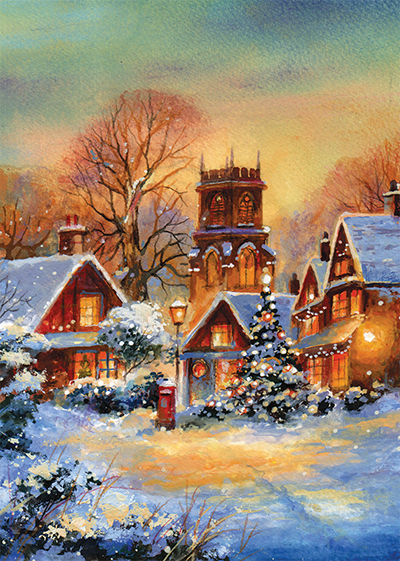 Winter Village Personalised Charity Christmas Card