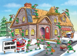 Festive Construction Front Personalised Card
