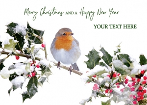 Festive Robin and Holly Front Personalised Card