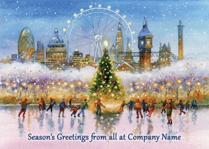 Skating under the Landmarks of London Front Personalised Card